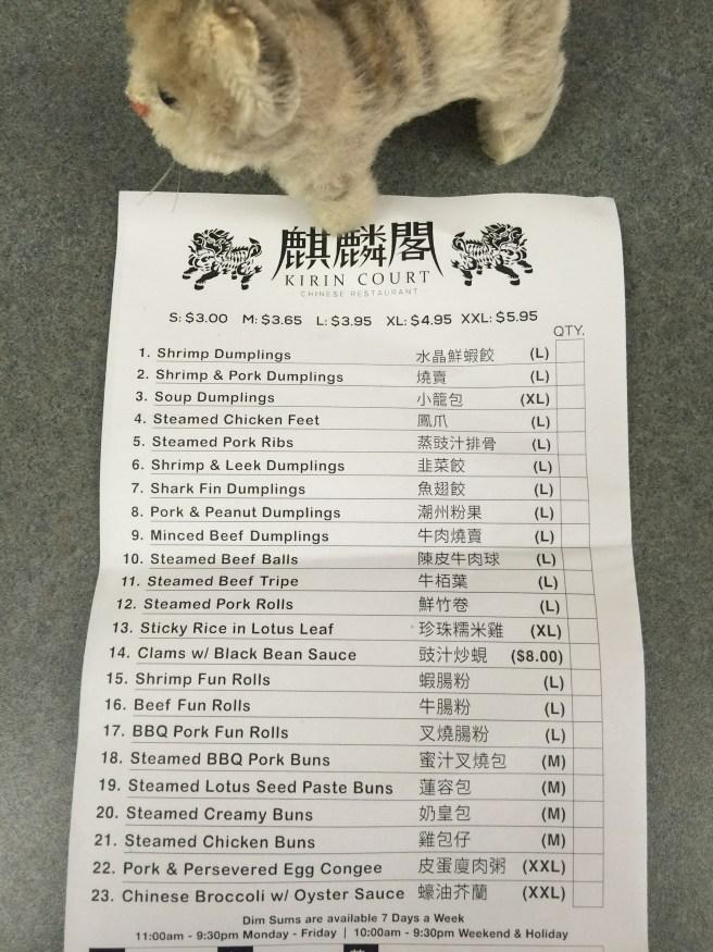 Frankie snagged a menu