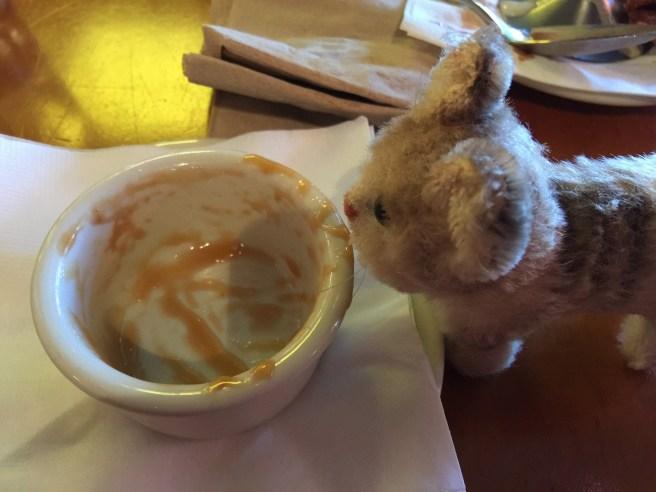 Frankie helped finish the extra caramel sauce