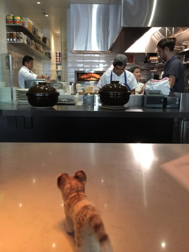 Frankie checks out the kitchen