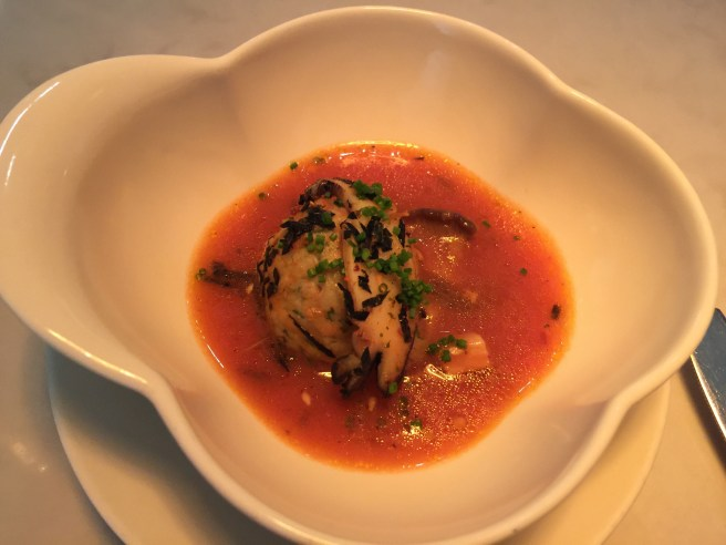 Branzino polpettas, fermented chile dashi