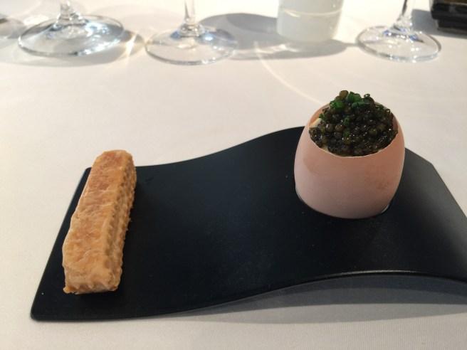 Egg caviar: soft poached egg, lemon creme fraiche, sturgeon caviar