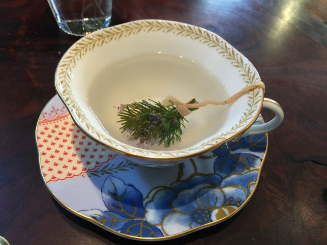 Infusion of herbs from their garden