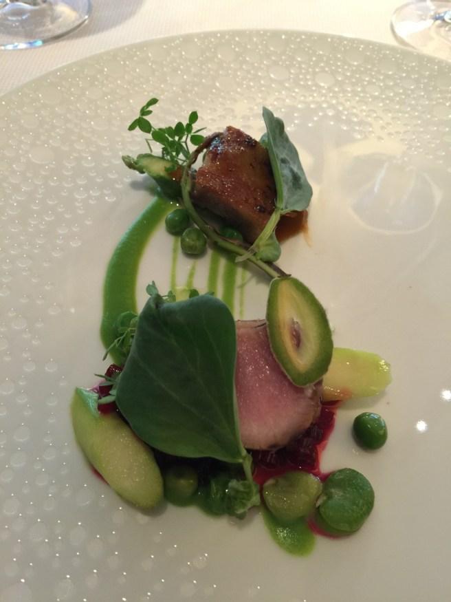 Broken Arrow wild boar loin & jowl BBQ, beet marmalade, green almon