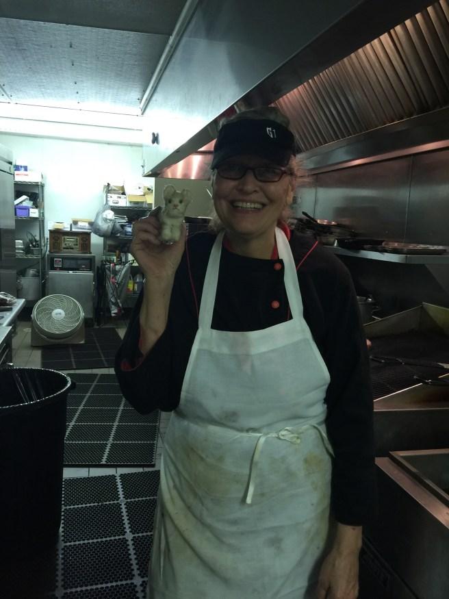 Chef Susan Birkey with Frankie