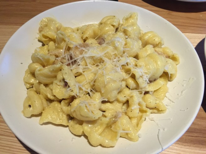 Conchiglie carbonara: guanciale, pecorino, egg, pepper