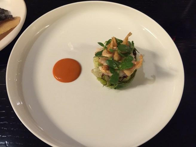 Shrimp's salad and cocktail sauce