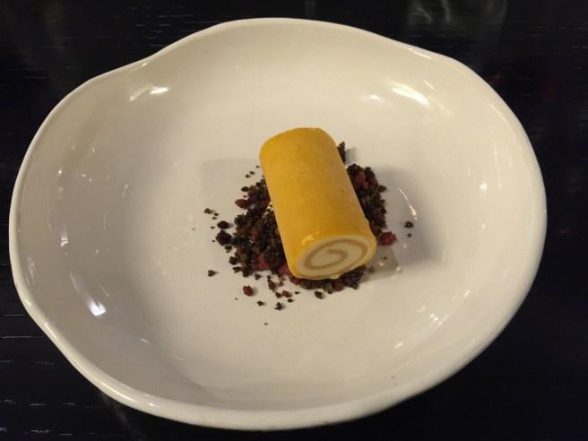 Mango roll and smoked tea ice cream