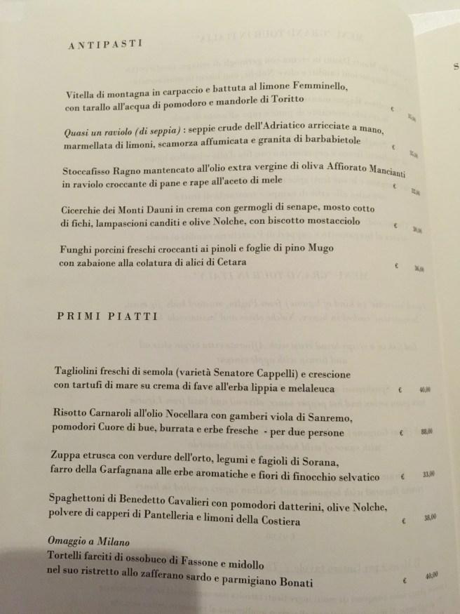 A la carte 1, Italian