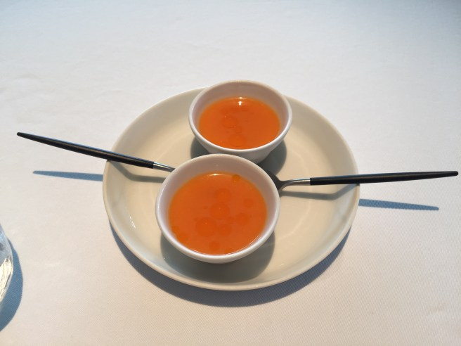 Lobster, milk and juice from fermented carrots and sea buckthorn