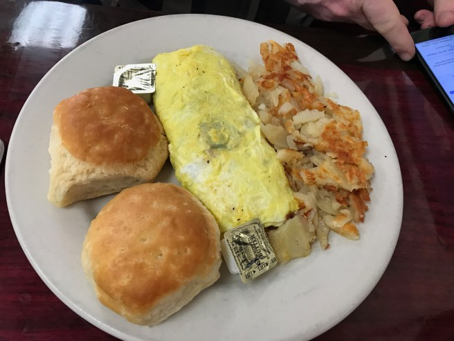 Gyro omlette with hashbrowns and biscuits