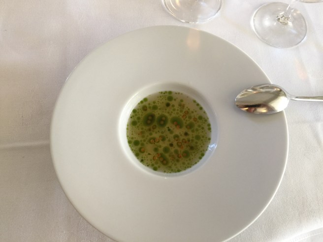 Celeriac with trout roe and green apple tea