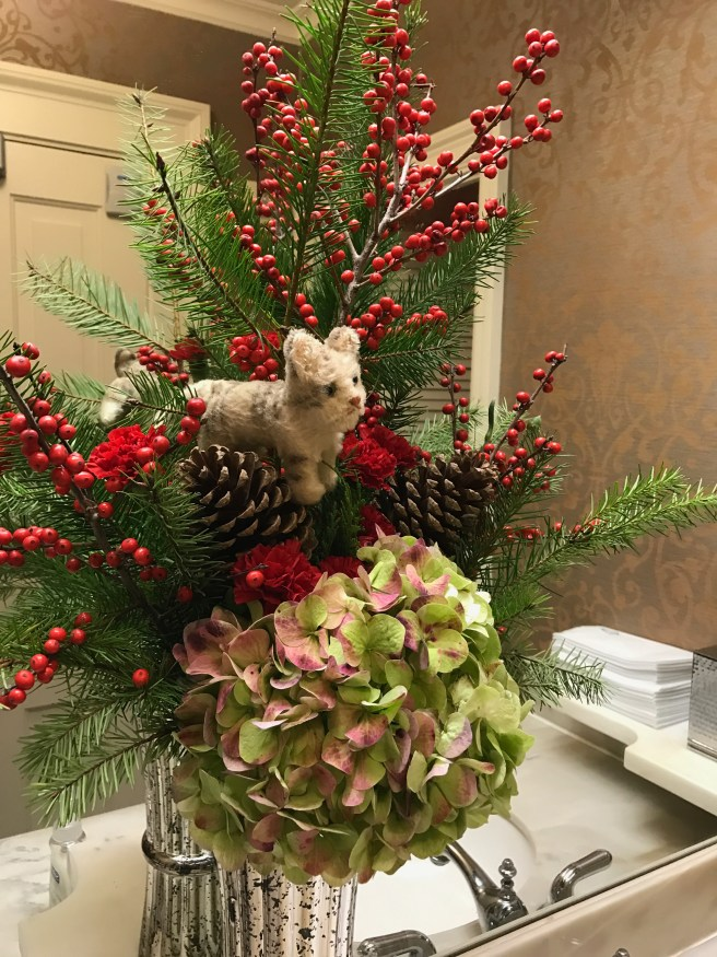 Frankie got in the Christmas spirit with the flowers