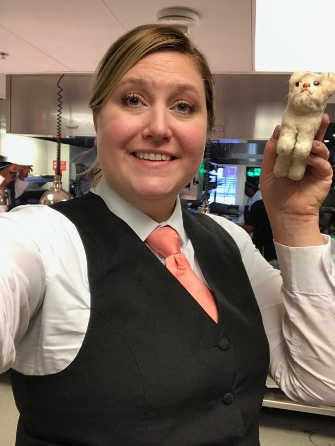 Our fun waiter Sarah Arceneaux with Frankie