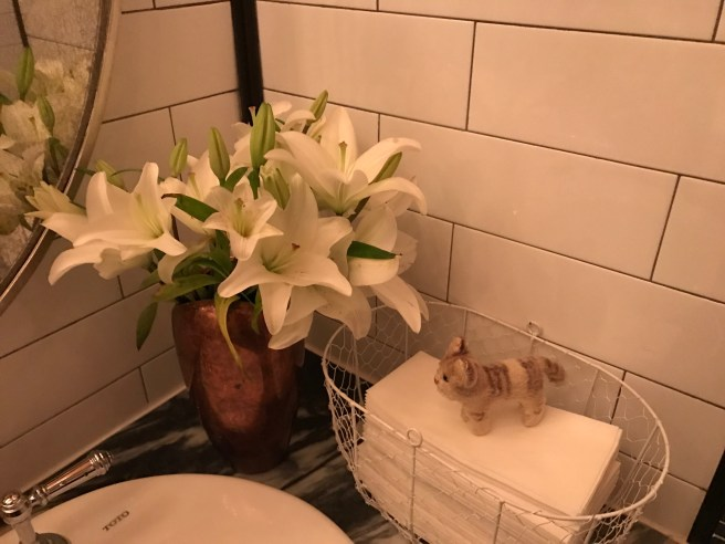 Frankie admired the flowers in the bathroom