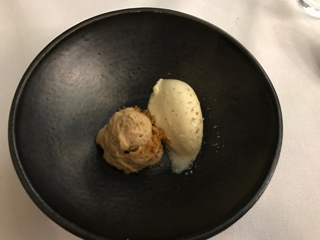 coffee bean foam, corn biscuit crumble and miso and vanilla ice cream