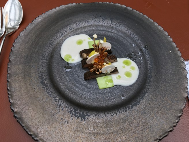 Youn cod, blue cheese, spruce top, tulip