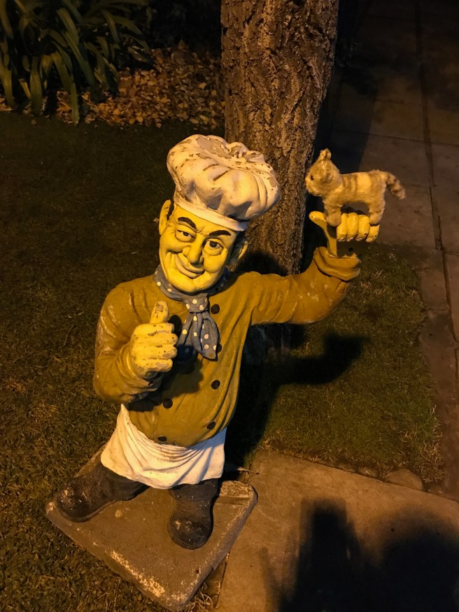 Frankie and the chef statue