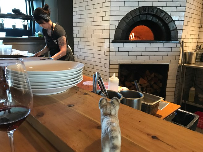 Frankie looked into the wood oven