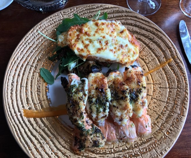 Grilled langoustine, Garlic bread, Roasted vegetables