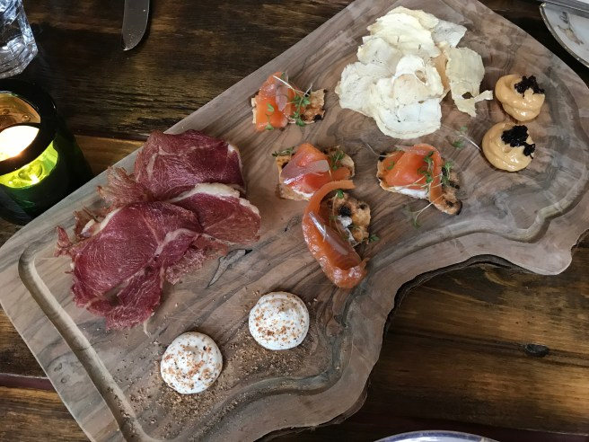 Dried fish, whey butter and pickled dulse / Trout smoked with sheep's dung, horseradish, toasted flatbread / Double-smoked lamb with buttermilk and nutmeg