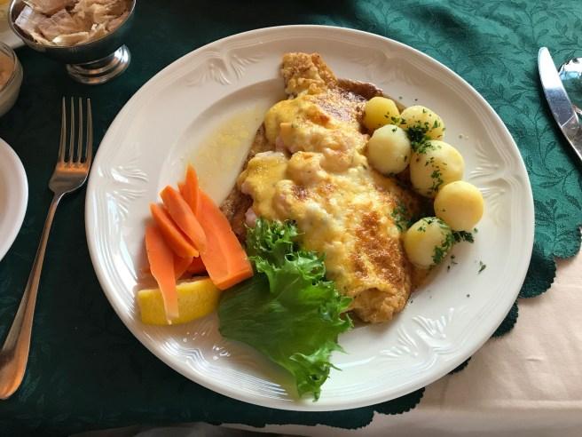 "Pan fried fillet of Plaice with shrimp ""gratin"""