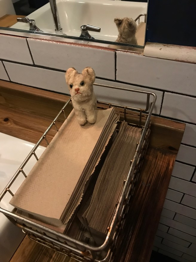 Frankie and her bathroom inspection