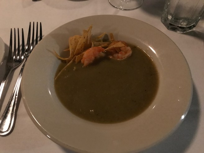Chicken poblano soup with shrimp