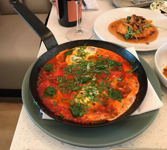 Shakshouka: chermoula, sunchokes, spicy chilies, tomato, egg