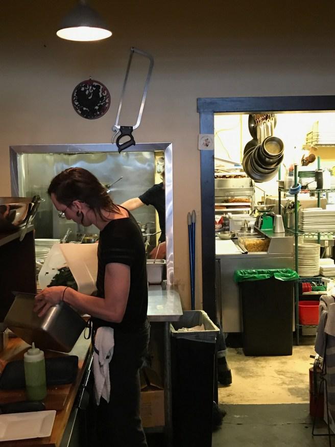 Kitchen behind order counter