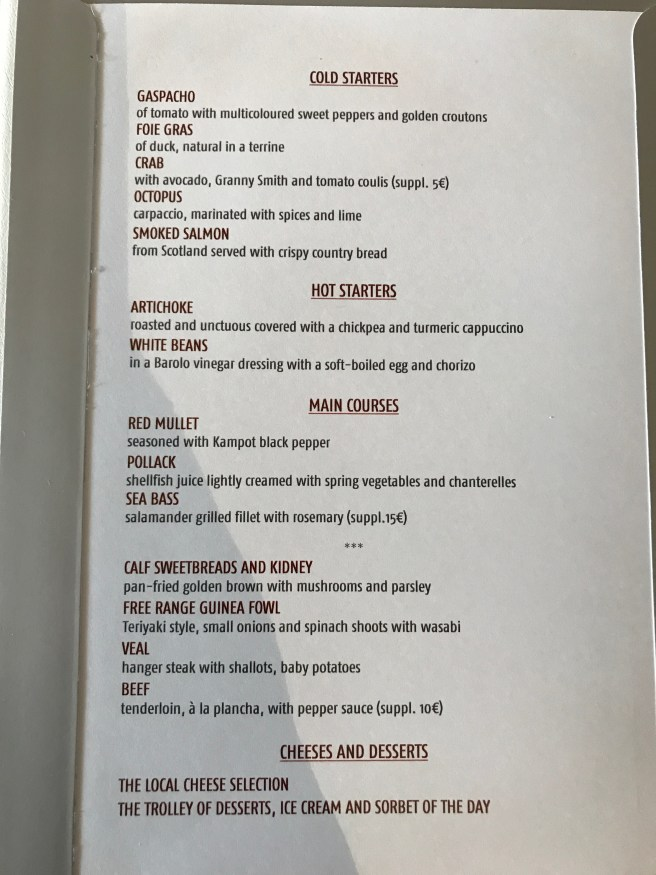 menu choices