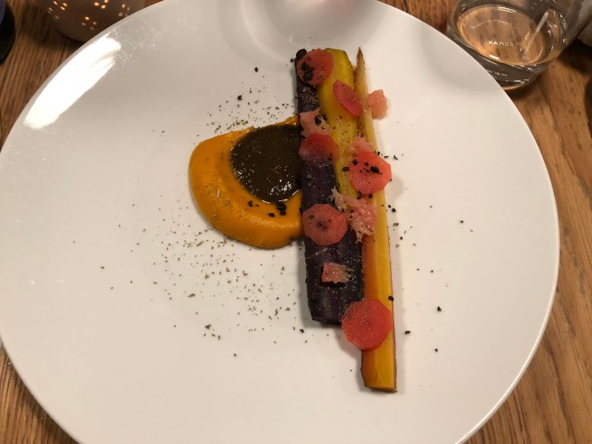 carrots with grapefruit, rose coulis, tamarind