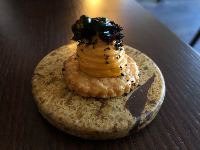 cheddar biscuit with sausgae emulsion