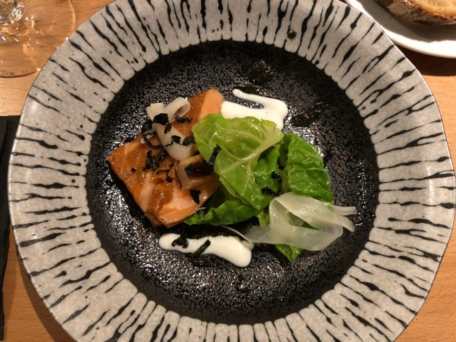 Smoked organic salmon, sprout tops, salsify and preserved lemon