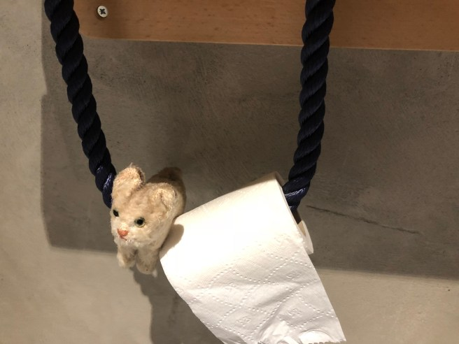 Frankie thought the toilet paper holder could serve as a swing
