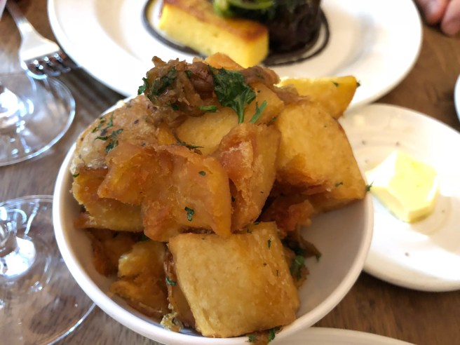 Hashed potatoes and Lyonnaise onions