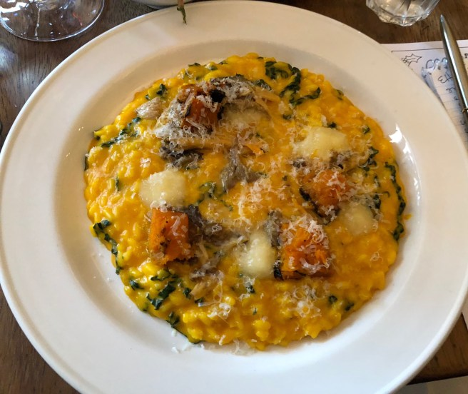 Roast squash risotto, chantererlles and taleggio