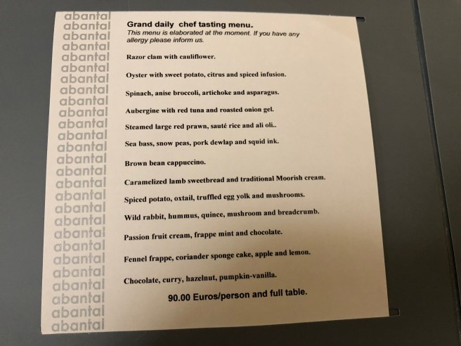 Grand daily chef tasting menu