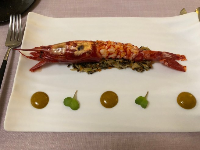 Steamed large red prawn, sauté rice and ail oli