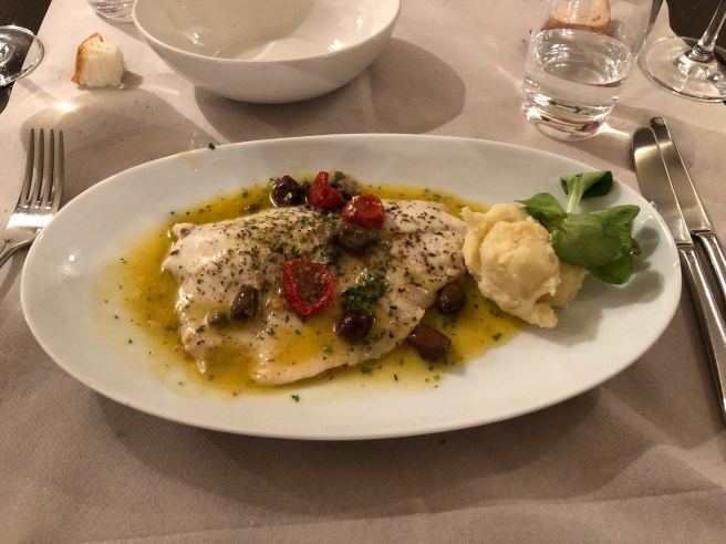 Sea bass fillet with Pantelleria capers and ligurian black olives