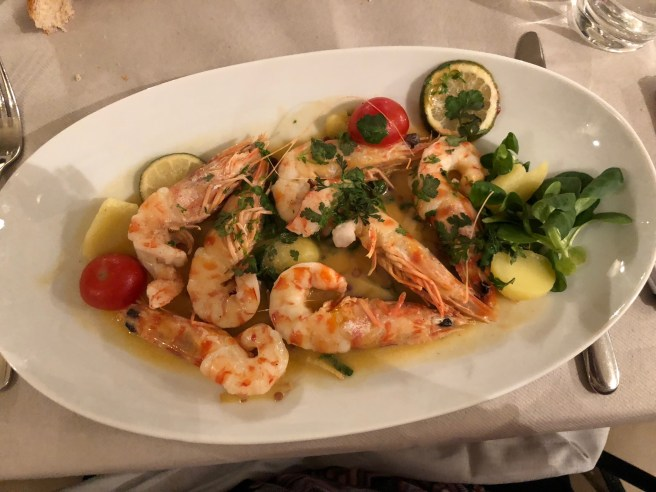 Prawns with lime, coriander and ginger sauce