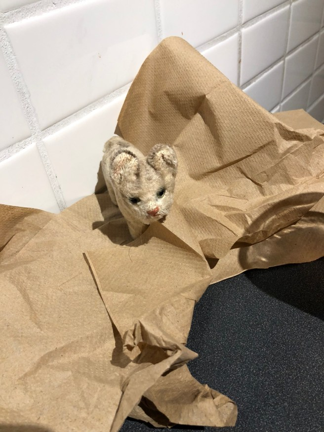 Frankie played in the paper towels that served as napkins
