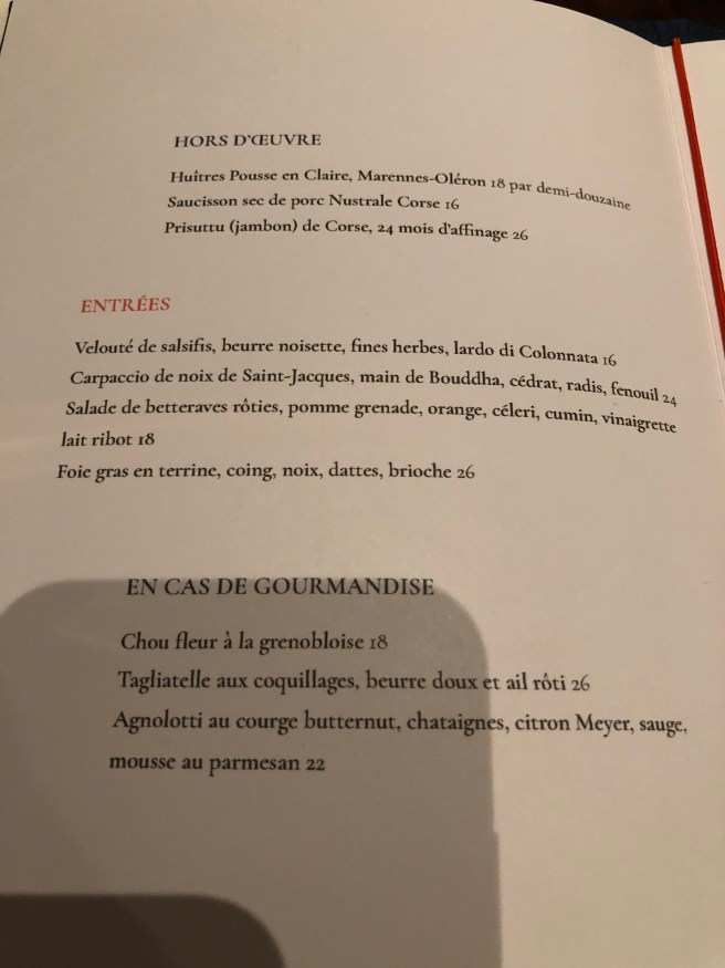 Menu 1 (French)