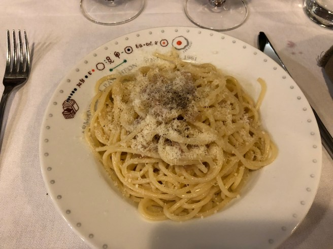 Spaghetti alla Griscia con guanciale (bacon), pecorino romano and black pepper