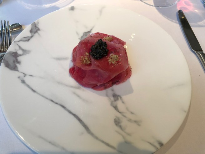 Candy beetroot baked in clay with English caviar, smoked and dried eel