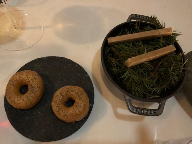 Woodruff doughnuts, smoked juniper fudge