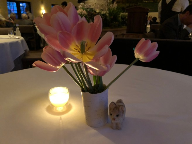 Frankie posed with the table flowers