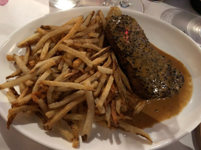 Steak au Poivre with hand cut pommes frites