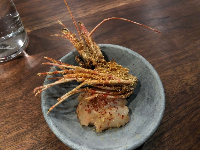 spot prawn - corn meal