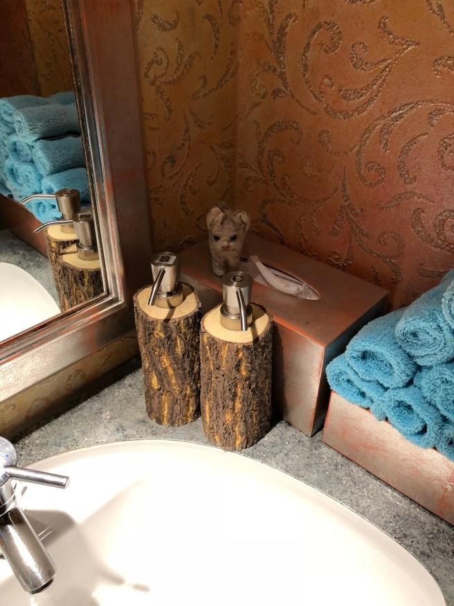 Frankie marveled at the wood dispensers