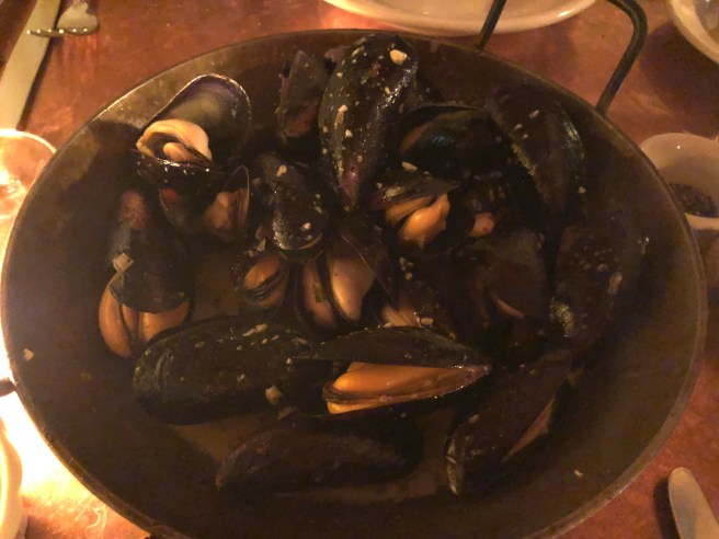 Wood oven roasted rope-cultured Maine mussels from Bangs Island, garlic almond butter, dry vermouth